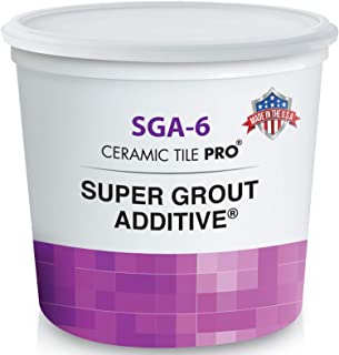 Best SGA 6 - Super Grout Additive Premium Waterproof Tile Grout Repair and Adhesive (Grout Sold Separately) - Kit Includes Applicator - Mixing Cups & Sticks - Makes 18 oz Epoxy Grout - Made in USA Review