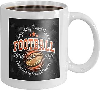 Taza de café de 11 oz Fútbol americano Etiquetas vintage Cartel Flyer Imprimir Ropa deportiva Novedad Regalos de cerámica Taza de té