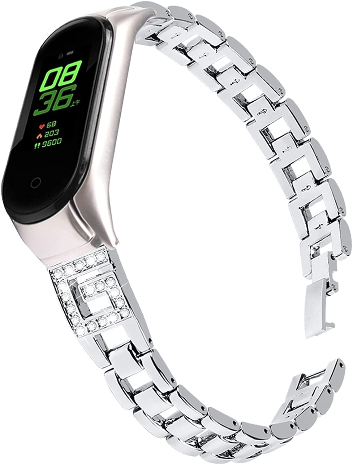 CYTSH Wrist Strap Women Diamond Rhinestone Glitter Metal Bracelet Wristband Replacement Strap for Mi Band 5 6 and 4 and 3 (Color : D, Size : for mi Band 4)