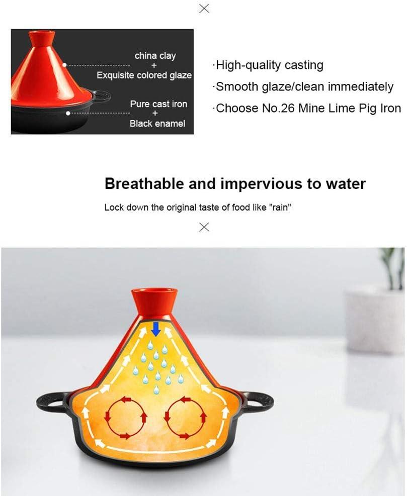 weiwei Pot en Fonte de ménage Pot en émail marocain Casserole à Double Oreille avec Base en Fonte et Couvercle Entonnoir en grès pour Tous Les Types de plaques,Vert Yellow