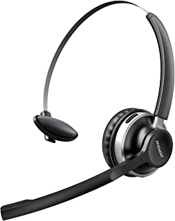 Mpow V5.0 Bluetooth Headset with Mic, Dual Noise Cancelling Microphone for Clear Call, All Day Comfort Truckers Headsets for Long Hual, Over The Head Bluetooth Earpiece for Cell Phone(Wired Option)