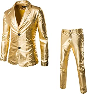 iHAZA Blazer Business Wedding Tops Party Bright Surface Suits Custom Men's Slim Suits 2 Piece