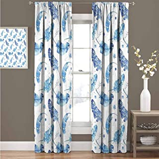 GUUVOR Feather Heat Insulation Curtain Watercolor Quill Design with Splashes and Stains Brush Strokes Effect for Living Room or Bedroom Curtain 52
