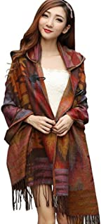 YEESAM Hooded Shawl for Women Blanket Cape Ponchos Coat Tassel Fringe Bohemian Scarf
