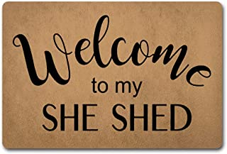 ZiQing Funny Doormat Entrance Mat Welcome to My She Shed-Indoor Outdoor Decoration Door Mat 23.6 x15.7 Inch