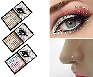 Syhonic 3 Pcs Self Adhesive Crystals Stickers,Fake Nose Stud and 3D Eyes Body Jewelry DIY Nail Stickers for Women Temporary Tattoo Stickers