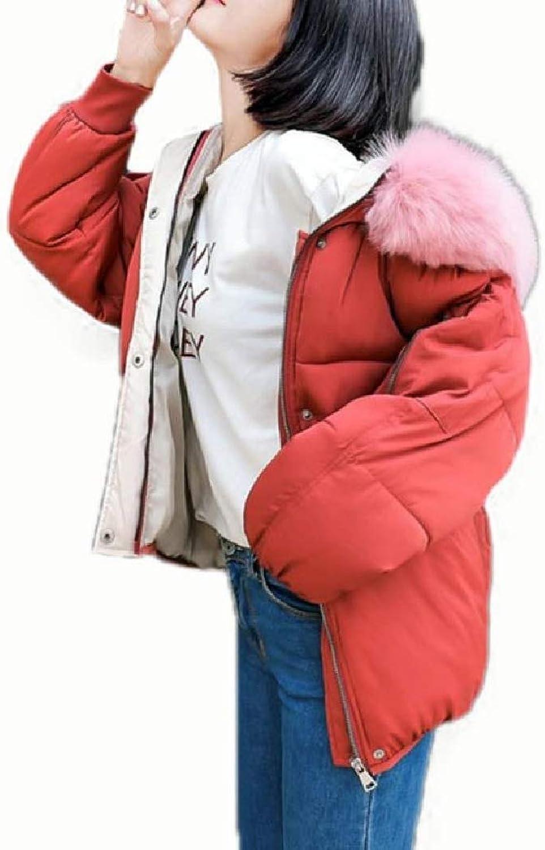Spodat Women Hood Brumal Oversized Warm with Faux Fur Hood Outdoor Coat