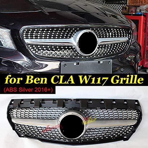 HYNB ABS Sport Front Diamonds Grill Grills Voor Mercedes CLA C117 X117 W117 CLA180 CLA200 CLA250 Directe vervanging 2016 +, Zilver, Zilver