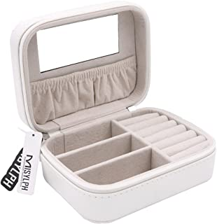 MISYLPH PU Leather Jewelry Box for Ring&Earrings Necklaces, with Mirror&Zipper, Small-Size, Portable (Small, White)