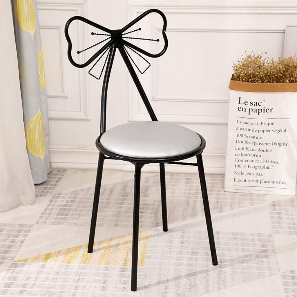 XIAOZHUZHU Sièges de Coiffeuse, métal Dossier Chaise Chambre Maquillage Tabouret Fer à Manger Chaise Chaise de Loisirs Maison Salon Meubles décoratifs,Blanc Gray