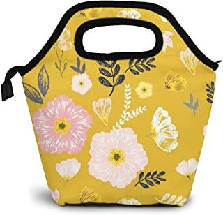 ZYRBsys Monarch Mustard Yellow Lunch Bag Tote Reusable Insulated Waterproof School Picnic Carrying Lunchbox Container Organizer for Men, Women, Adults, Kids, Girls, Boys