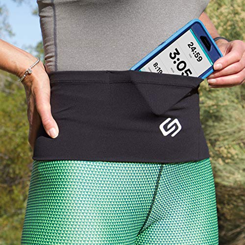 Sporteer VersaMax Running Belt, Travel Belt, Workout Waist Pack - Large Security Pockets Fit All Smartphones, Money, Passport, and Other Valuable Items (Medium)