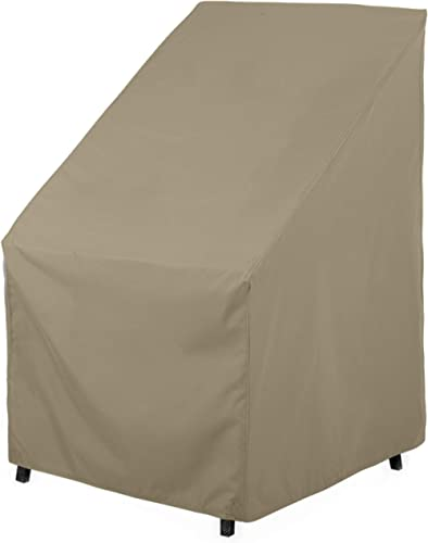 SunPatio Outdoor High Back Chair Cover, Heavy Duty Waterproof Patio Chair Covers, Fade Resistant Outdoor Stackable Ch...