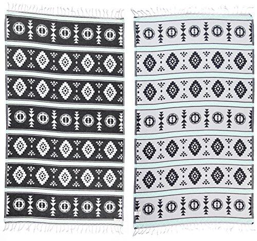 DESIGNER COLLECTION - Bersuse GOTS-Certified 100% Organic Cotton - Campeche Turkse Handdoek - Lichtgewicht Strandlaken, Bath Peshtemal - 95 x 175 cm, Zwart/Mint Green