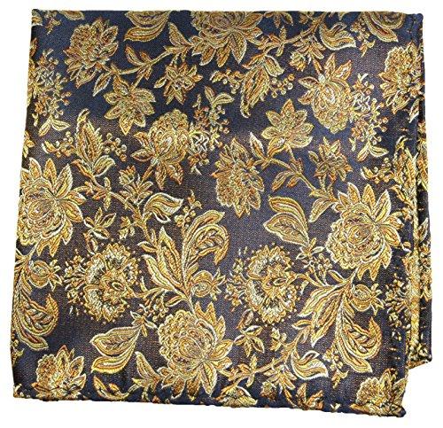 Paul Malone de carré de poche mouchoir 100% soie Or fleurs