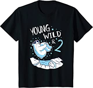 Enfant 2nd Birthday Polar Bear Young Wild & 2 Years Old Bear T-Shirt