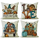 FIBEROMANCE Fall Throw Pillow Covers 18x18 Set of 4 Leopard Gnome Pumpkin Hello Fall Love Happy Fall Y'All Fall Décor Thanksgiving Autumn Decorations for Home Outdoor