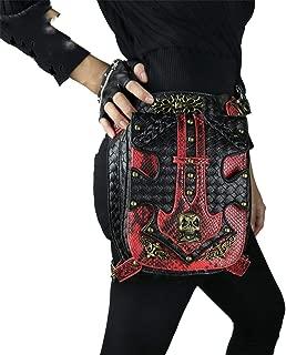 FreeStreetBo Designer Red Serpentine Waist Bags Vintage Knitting Pattern Women Men PU Leather Leg Bag Travel Pack