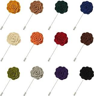 FM FM42 Men Rose Flower Lapel Stick Handmade Boutonniere Pin for Suit (15 Colors)
