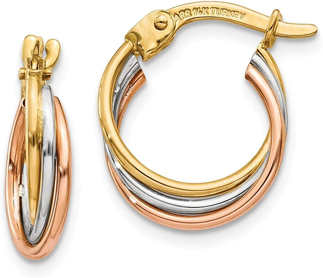 14k Tri Color Yellow White Gold Twisted Hoop Earrings Ear Hoops Set Fine Jewelry For Women Gifts For Her