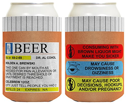 Funny Can Coolie Prescription Gag Gift Rx Pill Bottle Gift Coolie 2 Pack Can Drink Cooler Coolie Multi