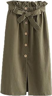 Cicilin Damen Midi R/öcke Sommer Split Vintage Skirt Freizeit mit G/ürtel,Dekorative Kn/öpfe