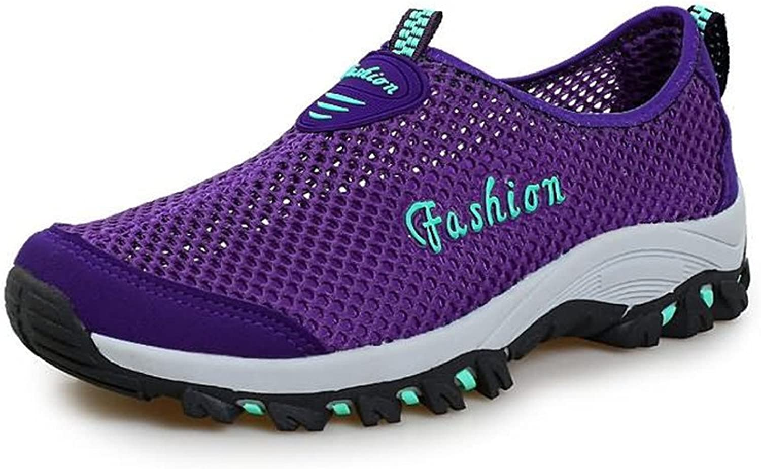 2018 New Women and Men's Breathable Flat Heel Hollow Fashion Sneaker (color   Purple, Size   7 MUS)