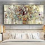 RAILONCH Cuadro de pintura de diamantes 5D, grande, árbol dorado de la vida con diamantes de imitación, decoración para salón y dormitorio (60 x 120 cm)