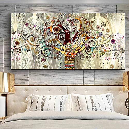 RAILONCH Cuadro de pintura de diamantes 5D para manualidades, diseño de árbol de la vida, color dorado, decoración para salón y dormitorio (60 x 120 cm)