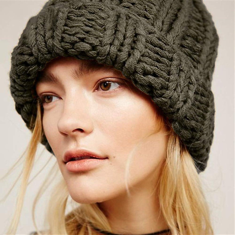 Causal Winter Knitted Hats Women Keep Warm Manual Wool Knitted Earmuffs Soft Hats Girls Caps Female,A