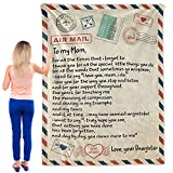 OFADD Blanket Love Letter to My Mom Personalized Printed Air Mail Throw Blankets for Couch Sofa Bed Supersoft Flannel Throws Birthday Gift Indoor Home Decor 50x60 Inches