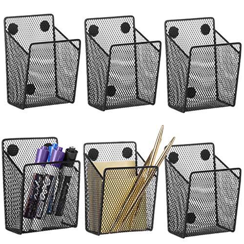 MyGift Black Wire Mesh Magnetic Pen & Dry Erase Marker Holder Office Supply Storage Baskets, Locker Organizers, Set of 6