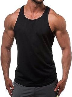 FSSE Men's Bodybuilding Solid Color Casual Sport Sleeveless Jersey T-Shirt Tank Top
