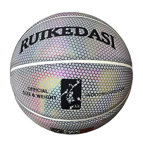 QGGESY Baloncesto Luminoso,Brillante Juego Nocturno Reflectante Street PU Glowing Basketball No.7, con Bolsa de Pelota, inflador, Bolsa de Red, Aguja de Pelota, muñequera,color1