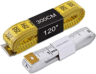 TTKLYN Tape Measure, Soft Tape Measure for Sewing Tailor Cloth Ruler, 120 Inches/300cm(Yellow) and 60 Inches/150cm(White) 2 Pack