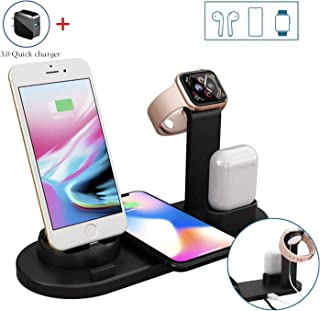 Wireless Charger, Vittqsuier 4 in 1 Wireless Charging Dock for Apple Watch and Airpods, Charging Station for Multiple Devices, Qi Fast Wireless Charging Stand Compatible with iPhone11/X/XS/XR/Xs Max/8