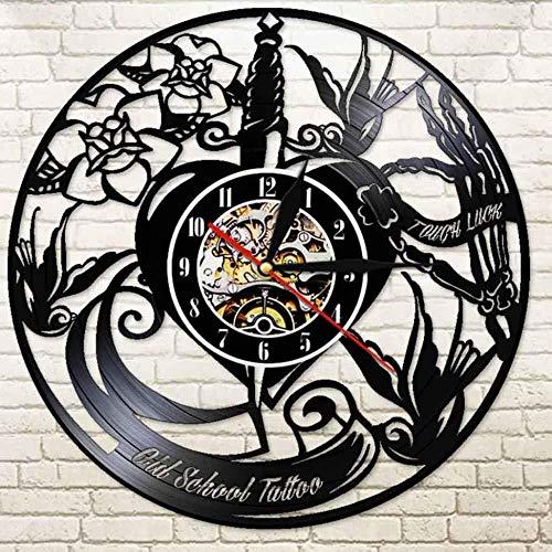 suwhao Tattoo Studio Vinyl Record Wandklok Bestel Logo Uw Afbeelding Tattoo Shop Decoratie Klok 30X30Cm