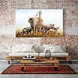 KWzEQ Éléphant rhinocéros Girafe Lion zèbre Toile Peinture Nordique Art Mural Animal Affiche Chambre d'enfant décoration-sans Cadre Peinture 30X50 cm