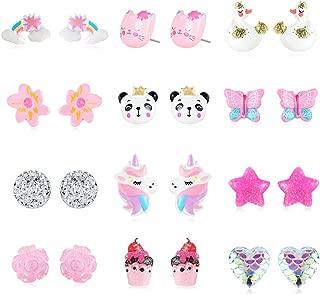 PinkSheep Earrings Set for Little Girls, Kids Stud Earring 12 Pair, Unicorn Flower Star Earrings