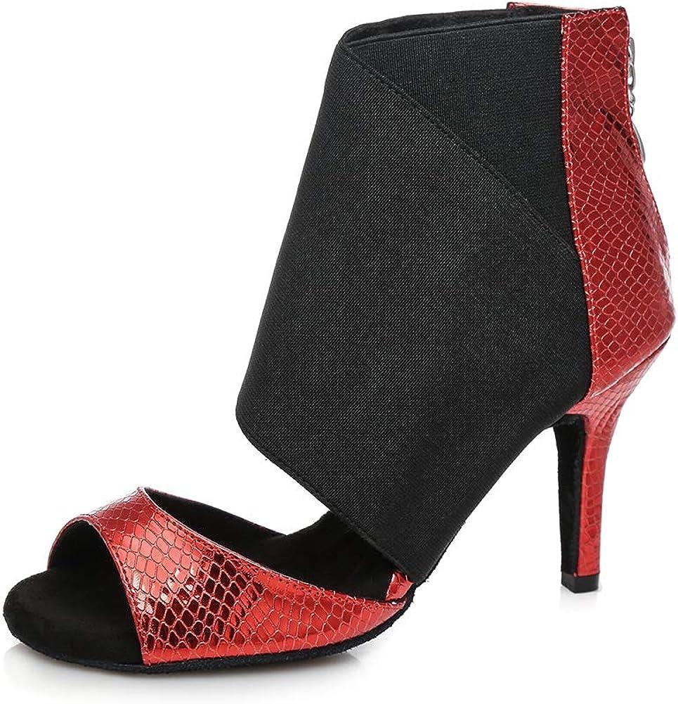 HIPPOSEUS Women's Red Latin Dance Shoes Zipper Ballroom Wedding Party Dancing Boots,Model L426