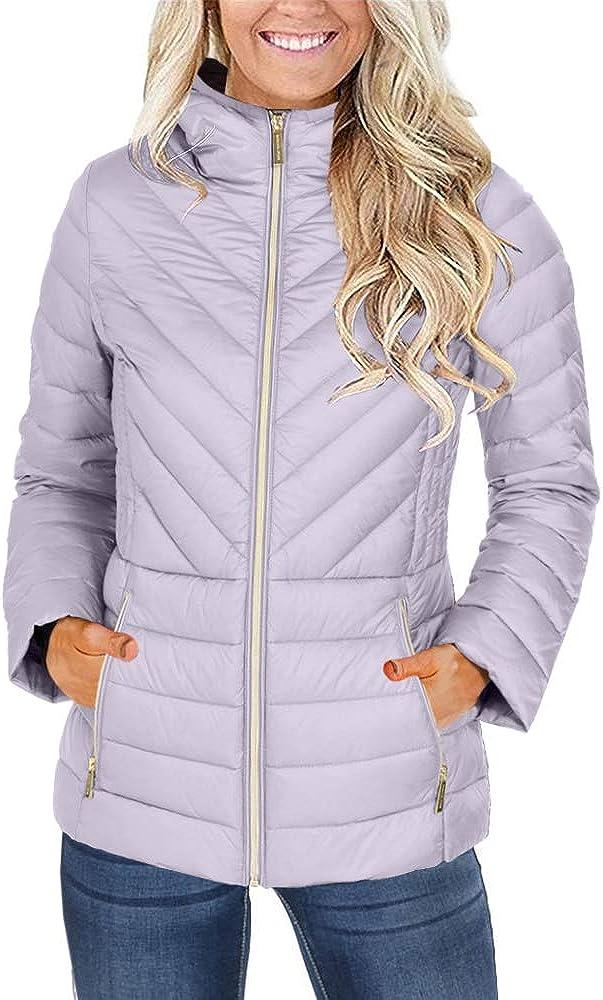 Yskkt Womens Packable Down Jackets Ultra Light Weight Hooded Short Puffer Coats with Zipper Pockets