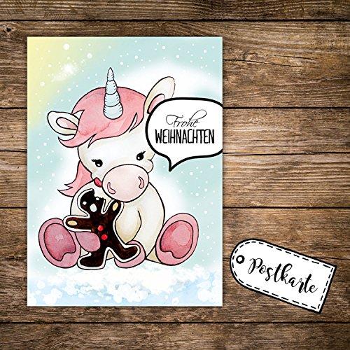 ilka parey wandtattoo-welt A6 Weihnachtskarte Einhorn mit Lebkuchen Postkarte Print & Spruch Frohe...
