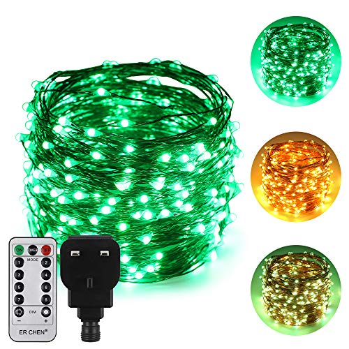 ErChen Dual-Color LED String Lights, 100 FT 300 LEDs Plug in Copper Wire 8 Modes Dimmable Fairy Lights with Remote Timer for Indoor Outdoor Christmas (Green/Warm White)