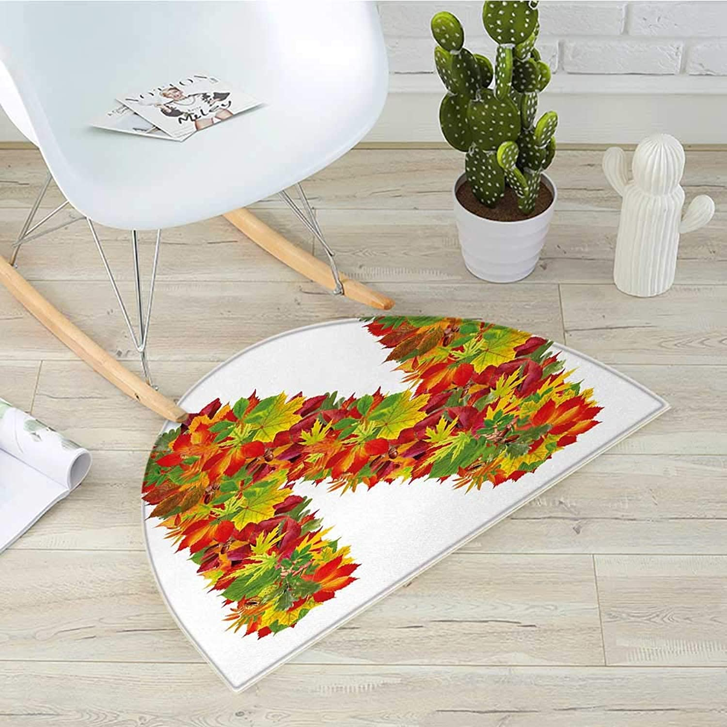 Letter N Semicircular CushionFall Canadian Maple Leaves Shaped Symbolic Writing Sign Flourishing Mother Earth Entry Door Mat H 39.3  xD 59  Multicolor