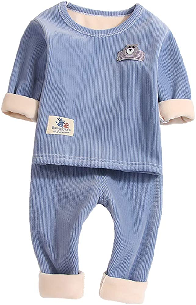 Toddler Baby Boys Girls Warm Fleece Lined Thermals Underwear Kids Winter Base Layer Long John Set