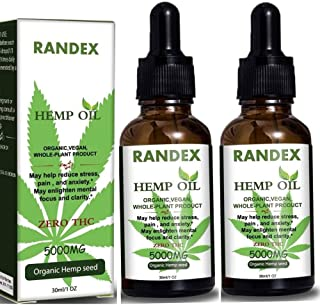 (2 Pack) 5000mg Organic Cold-Pressed Hemp Oil - Healthy Sleep & Mood Support- Natural Hemp Drops - Made in USA