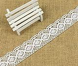 Yulakes Cinta de encaje de algodón de 10 yardas, 4,3 cm, estilo vintage, con encaje de ganchillo, para manualidades, accesorios de ropa y decoración nupcial de boda -Y04005 (blanco)