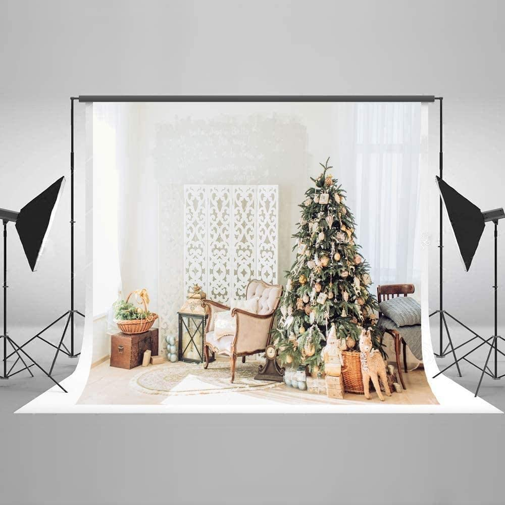 Zhy KateHome PHOTOSTUDIOS 2.1x1.5m Christmas Warm Background Christmas Tree Kitchen Backdrops Xmas Gift Kitchen Portrait Photo Studio