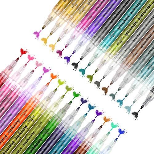 OVAREO 28 Farben Acrylstifte Marker Stifte, 0.7mm Acrylfarben Wasserfest Marker Holz Stift Farbe für Steine Bemalen, Holz, Leinwand, Fotoalbum, Glas, Metall