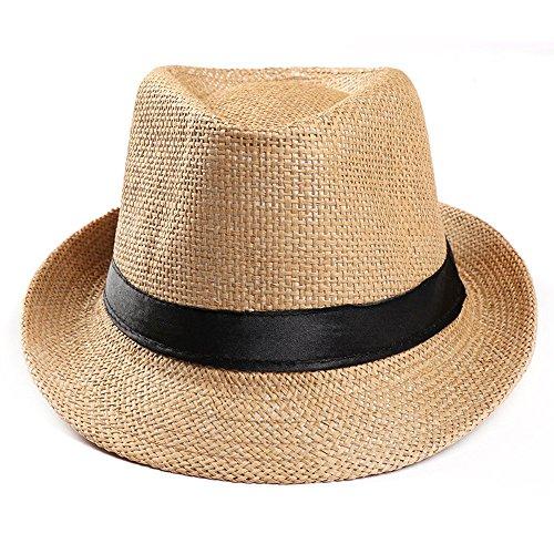 Fenverk Panama Fedora Trilby Gangster Hut Sonnenhut Mit Stoffband Street Style Herren Damen Panamahut Sommerhut Beach Strohhut Jazz Trilbyhut HüTe Kappe(D Khaki)